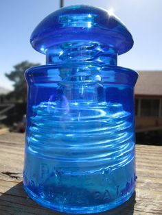 Beautiful Pyrex Peacock Blue Glass Insulator Colored or Stained CD 128
