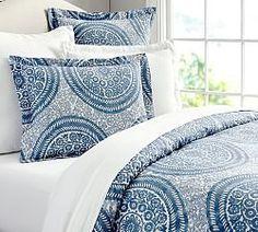 Nora Medallion Organic Duvet Cover, Full/Queen, Blue