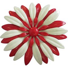 Large Red and White Enamel Flower Pin Brooch - Free Shipping in US - found at www.rubylane.com @rubylanecom