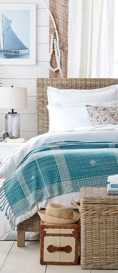 Coastal Bedroom // Coastal Bedroom: Isadora Oversized Throw, Valerie Floral Matelasse Bedding, Santa Ana Trunk