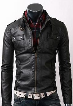 Mens Slim Fit Strap Pocket Black Motorcycle Leather Jacket All Sizes Available   eBay