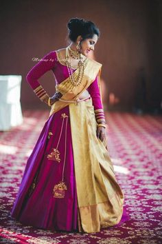 Midas Touch - A Super Gorgeous Bride, Rocking A Saree Lehenga With Glamorous Makeup Shopzters Lehenga Saree Design, Half Saree Lehenga, Lehenga Style, Saree Look, Saree Dress, Lehenga Designs, Half Saree Designs, Saree Blouse Designs, Mehndi Designs