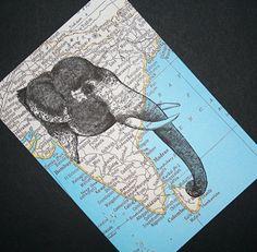 Elephant Print Map Art  India Map  5 x 7 Asian Elephant by CrowBiz, $15.00