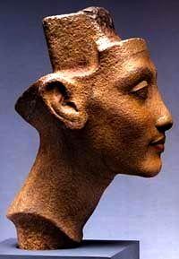 The Art of Pharaoh Akhenaten's Reign. Unfinished head of Queen Nefertiti,
