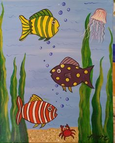 Step By Step Beginners Children's Painting - three fish