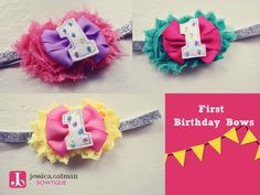 First Birthday headbands, First Birthday hair bow  https://www.etsy.com/listing/167461384/first-birthday-glitter-headband-first?ref=shop_home_active