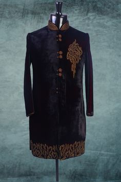 #Black velvet #zari worked indo western #sherwani -IW142
