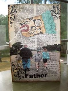 Picture printed on a dictionary page for a Father's Day card.