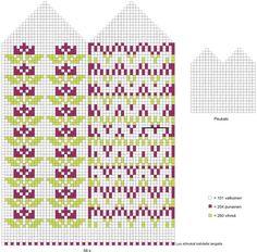 Bilderesultater for kuviolapanen Mittens Pattern, Knit Mittens, Mitten Gloves, Knitting Socks, Hand Knitting, Knitting Charts, Knitting Patterns, Craft Patterns, Twine