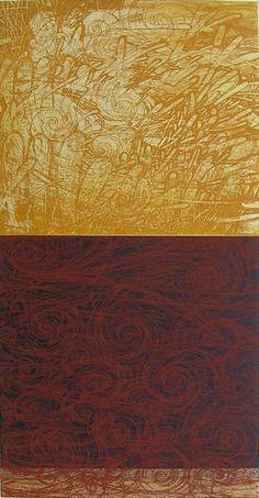 風を綯う日々-ある日  TheDays of Twining Wind -One Day  66.5 x 34.2cm  copperplate print with chine collé(etching)  林孝彦 HAYASHI Takahiko 2003