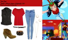 Like Sailor Moon Outfits on Facebook! Requested by:knocking-down-hesitation Forever 21 skinny patent belt in Black Forever 21 faceted bracelet in Black/Gold Forever 21 crescent moon earrings Forever 21 falling stars necklace Ksubi t shirt in Intense Red Topshop sleeveless biker jacket MOTO acid blue Jamie jeans Bakers Curfew boot in Tan