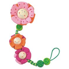 Give your baby something to smile about with this trio of cheerful blossom friends on the end of her pacifier chain. The decorative string is meant to be attach