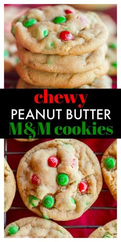 An easy recipe for chewy peanut butter M&M cookies with Christmas M&M's are perfect for a Christmas cookie platter and for every peanut butter lover! Chocolate No Bake Cookies, Chewy Peanut Butter Cookies, M M Cookies, Peanut Butter Cookie Recipe, Peanut Butter Recipes, Chocolate Recipes, Christmas Goodies, Christmas Sweets, Christmas Baking