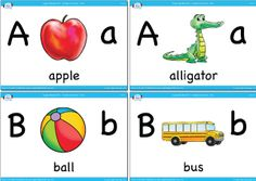 Upper and lowercase vocabulary flashcards from Super Simple Learnng. #preK #Kindergarten #ESL