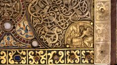 Details from the rear cover of the Lindau Gospels.  Gilt silver, enamel, and jeweled bookcover  [Probably Salzburg, ca. 760–90]  Earlier binding used as lower cover on Lindau Gospels, Abbey of St. Gall, Switzerland, late ninth century  350 x 275 mm  Purchased by Pierpont Morgan, 1901; MS M. 1  Source: http://j.mp/1eJFIlc A book cover that looks like jewelry. And it's over a thousand years old! Awesome.