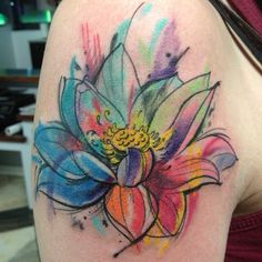 Love the watercolor and sketch design. Wish I was more open to so much color in my tattoos.