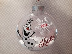 DIY Olaf Ornament Craft Kit Frozen Inspired by cypressbelledecals Frozen Ornaments, Vinyl Ornaments, Painted Christmas Ornaments, Diy Christmas Ornaments, Christmas Decorations, Ornaments Ideas, Ball Ornaments, Christmas Tree, Christmas Projects