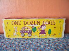 Vintage Package of Plastic Easter Eggs in Cardboard Egg Carton