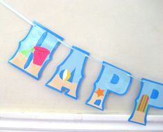 Beach Day HAPPY BIRTHDAY Banner  Beach Party Surfing by Devany, $25.00