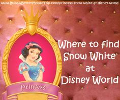 Click this pin for a complete list of all the places to find Snow White at Walt Disney World Resort; See: http://www.buildabettermousetrip.com/princess-snow-white-at-disney-world  #SnowWhite