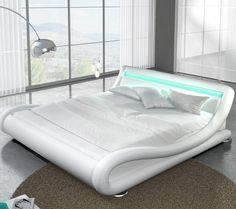 Magnifique lit design à led en similicuir blanc pour un couchage de 180 x  200 cm avec une tête de lit intégrée de la collection Zapa. 1d74589e2180