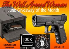 Here we go!! The Well Armed Woman Giveaway of the Month for June is ON! This month we are giving away a @GLOCKinc 19 and a @libertysafe Biometric Handgun Vault to store it in! It's National Safety Month, don't forget to take the Glock pledge and #FollowTheFour