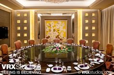 This image showcases the elaborate and luxurious setting of the restaurant Taste at #Hilton Hanzhou Qiandao Lake Resort in Zhejiang, China. View more stunning photography here: http://www.vrxstudios.com