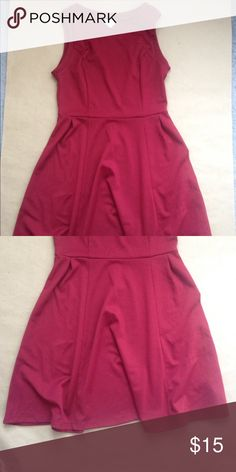 "Burgundy Merona dress A size Medium Burgundy dress. Great for work! No rips, stains, or tears. Measurements: length (from waist seam approx. 20""), waist (at waist seam approx. 15""), bust (armpit to armpit approx. 18""). Merona Dresses Midi"