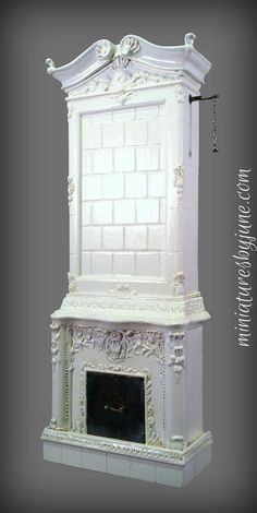 Miniatures by June Clinkscales Dollhouse Furniture | Custom Swedish fireplace