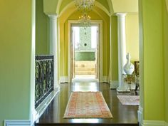 Rainbow sequence - lime green passage with white trim.