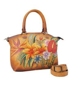 Look at this Tropical Paradise Hand-Painted Leather Convertible Satchel on #zulily today!