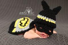 Newborn Crochet Baby Batman Hat & Cape Set by PerfectlySweetProps, $35.00