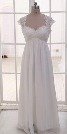 Cheap wedding dresses ,Cap Sleeves Empire Waist Lace Chiffon Beach Wedding Dress,See Through Sweetheart Wedding Gown, Custom Made Maternity Bridal Wedding Dresses,Pregnant Women Dress Prom