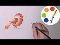 Easy way to paint a simple bird, One Stroke for beginners, irishkalia - YouTube