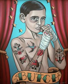 Tattooed Boxing Boy Art Print