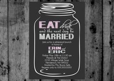 Mason Jar Eat Drink and Be Married Save the Date