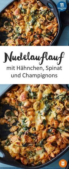 Nudelauflauf mit Hähnchen, Spinat und Champignons | Hauptgericht, Mittagessen, Abendessen, Nudeln, Pasta