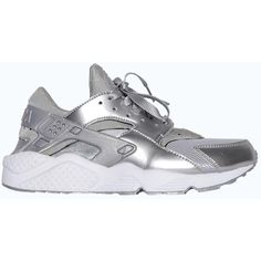 Nike Air Huarache Metallic SIlver ❤ liked on Polyvore featuring shoes, sneakers and huarache