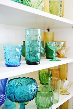 Today, I'm excited to share the progress I'm making on a rainbow glassware display in our breakfast nook. Fall Checklist, Dish Display, Vintage Baking, Rainbow Glass, Antique Glassware, Vintage Colors, Vintage Turquoise, Glass Dishes, Displaying Collections