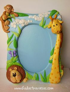 polymer clay jungle frame  porcelana fria polymer clay