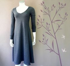Organic cotton sweater  dress with a belt - charcoal grey or more colors by econica on Etsy