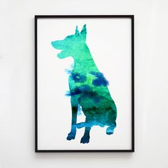 Colorful poster. Doberman decor. Animal art.  Printed on high quality art paper.  SIZES:  8.3 x 11.7 (A4) 11.7 x 16.5 (A3)  This print comes