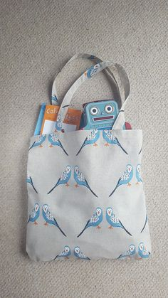 Made in the UK. Blue Budgie, Reusable Grocery Bags, Printed Tote Bags, Budgies, Summer Bags, Folded Up, Blue Bags, Mother Day Gifts, Diaper Bag