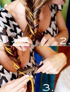 DIY: Trança escama-de-peixe com linhas coloridas! ~ No Preach | Bárbara Urias