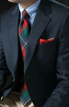 Men's Suit-Tartan necktie Classic 2 button suit