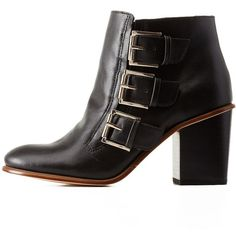 5e8f65e46c24 Charlotte Russe Black Three-Buckle Chunky Heel Booties by Charlotte... ( 69