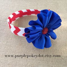 Fourth of July Red White and Blue Chevron Headband