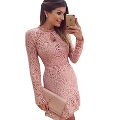 Lace Girl Women Pink Lace Dress  Spring Women Sexy Fitness Formal Dresses Long Sleeve Mini Night Party Dress Plus Size Do you want it Visit our store