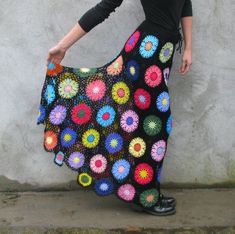 Transparent Colorful flowers on black background, Handcrochet multicolor skirt size S/M/L READY TO SHIP 2 weeks after I receive payment I ship items Hippie Crochet, Freeform Crochet, Crochet Lace, Crochet Skirts, Crochet Clothes, Square Skirt, Crochet Lingerie, Crochet Square Patterns, Gypsy Skirt
