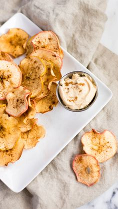 Check out this sweet fall twist on chips and dip: baked apple chips and yoghurt pb dip